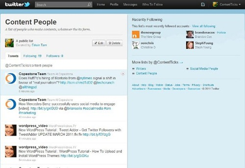 #14 Twitter Search for Content - list